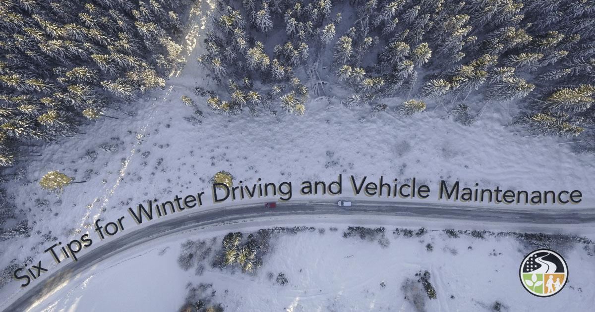 Car driving on dangerous winter roads