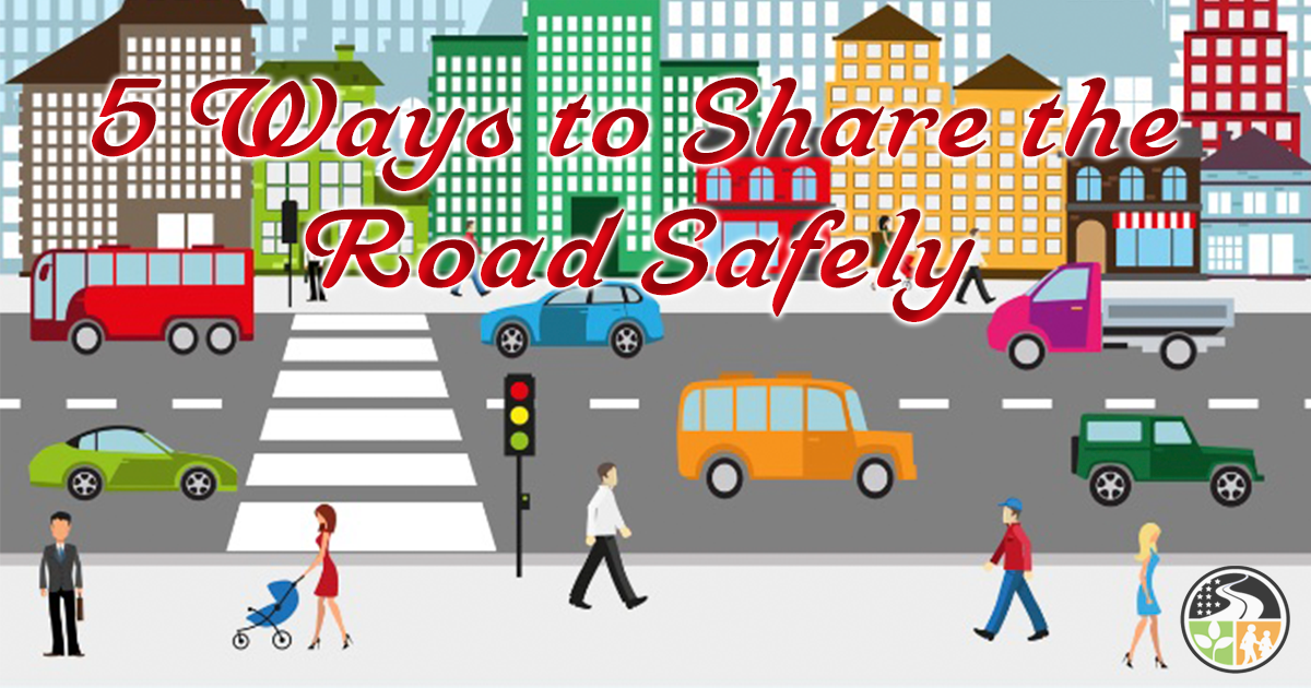 Drivers safely sharing the road with other drivers and pedestrians