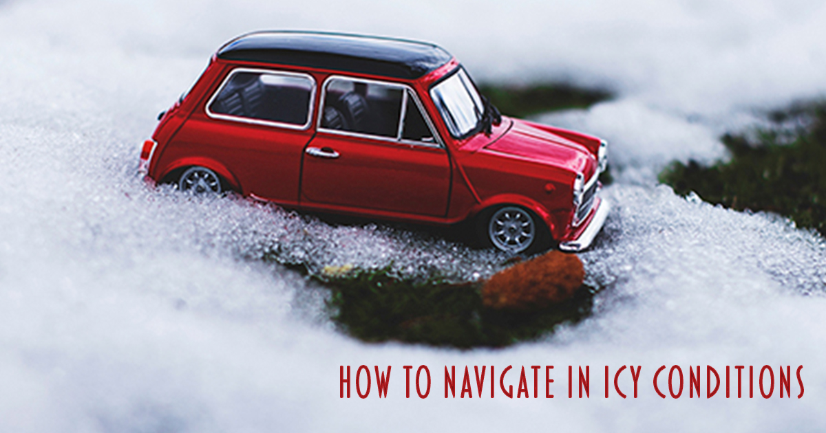 Toy car driving on ice